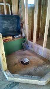 Shower pan is formed and ready for waterproofing